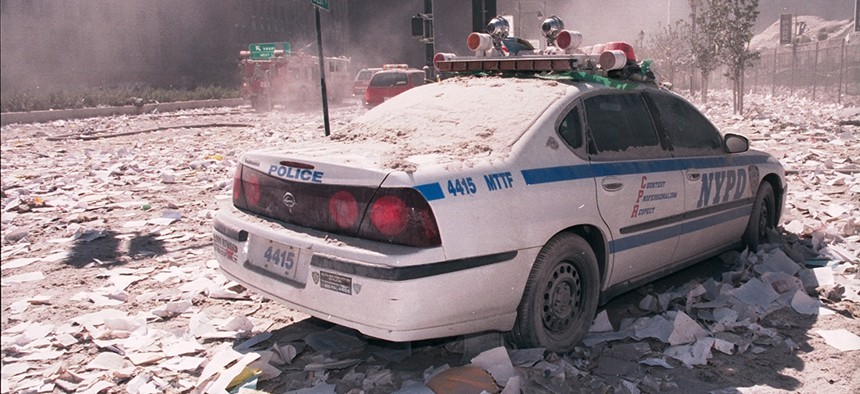 Police car in the rubble of 9-11