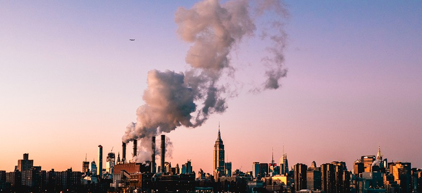 Smoke pollution over new york city