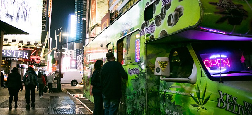 A weed truck in Times Square.