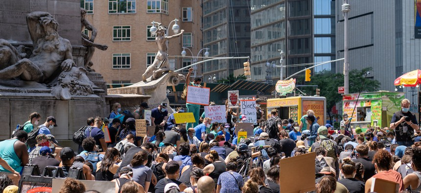 Black Lives Matter protestors at Columbus Circle on June 6, 2020.