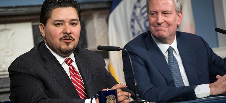 New York City Schools Chancellor Richard A. Carranza and Mayor Bill de Blasio.
