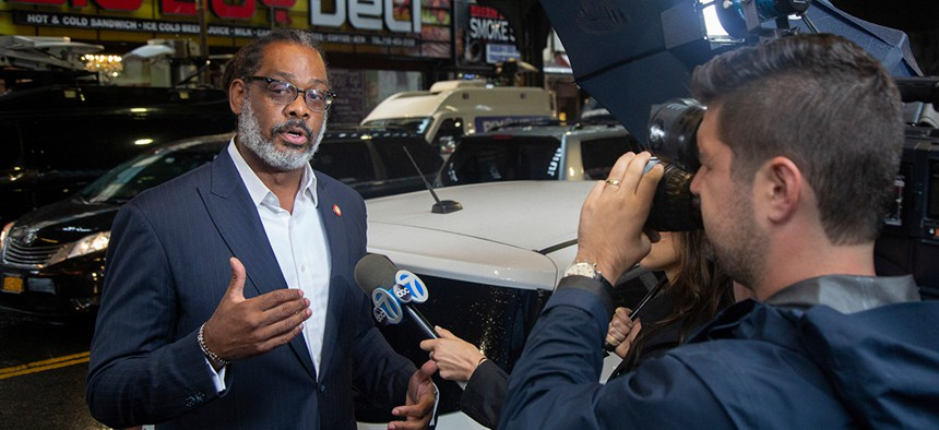 New York City Councilman Robert Cornegy makes a press statement in September of 2018.
