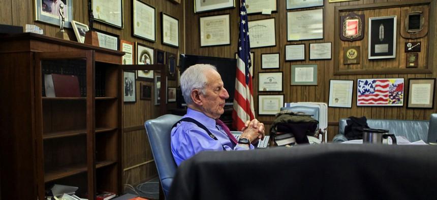 Former Manhattan DA Robert Morgenthau in his office, prior to stepping down.