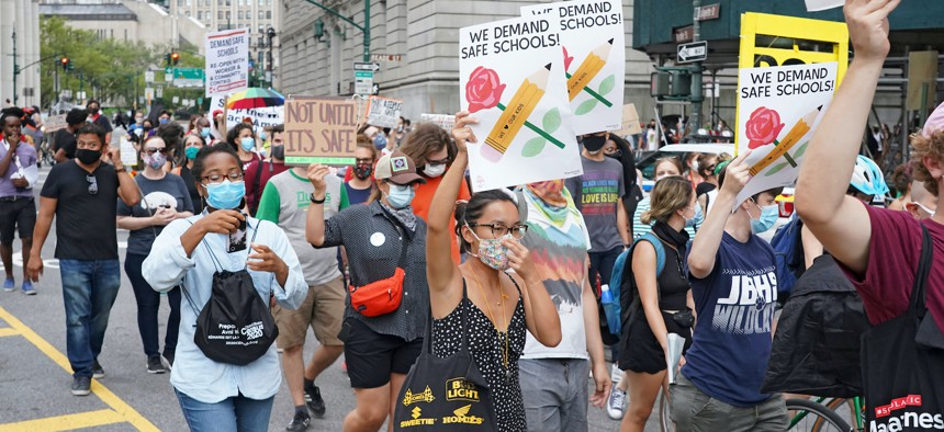 Protestors demanding safe schools on August 3, the National Day of Resistance.