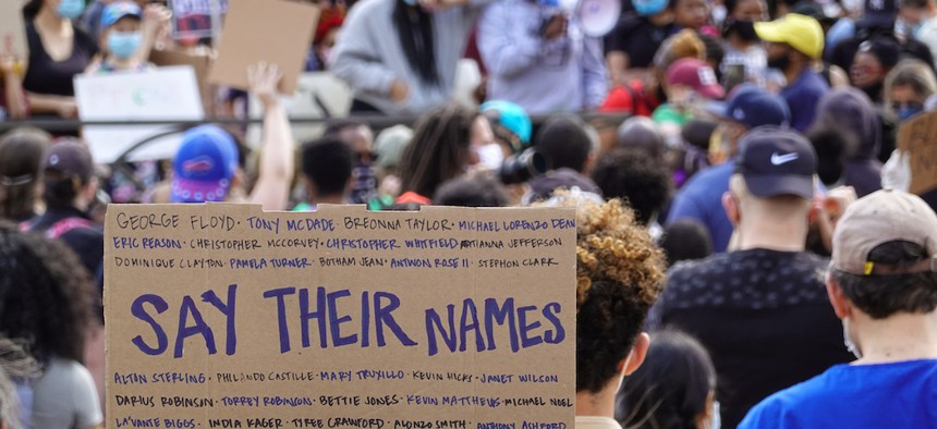 A protestor's sign in Harlem on June 7, 2020 listing the names of lives lost due to police brutality.