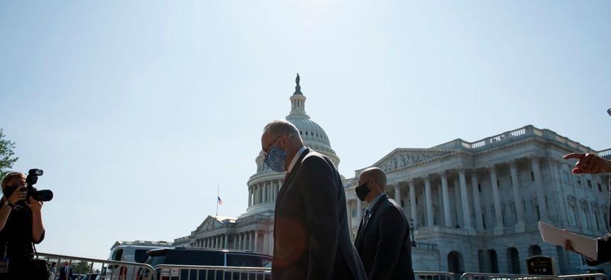 Senator Chuck Schumer outside the Capitol building on September 22, 2020.