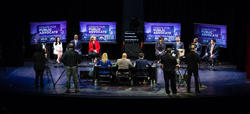 The candidates and NY1 crew during the second official public advocate debate.