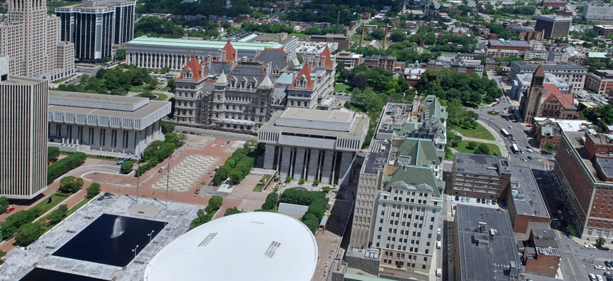 An aerial view of the Capitol in Albany