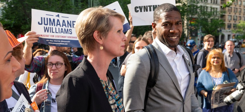 Gubernatorial candidate Cynthia Nixon and lieutenant governor candidate and New York City Councilman Jumaane Williams hold a rally in Union Square last month.