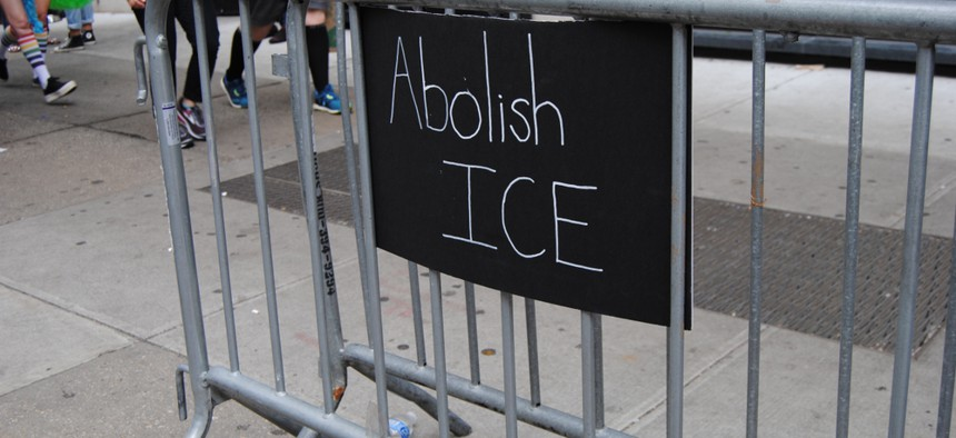 """An """"Abolish ICE"""" sign during a march in New York City in June."""