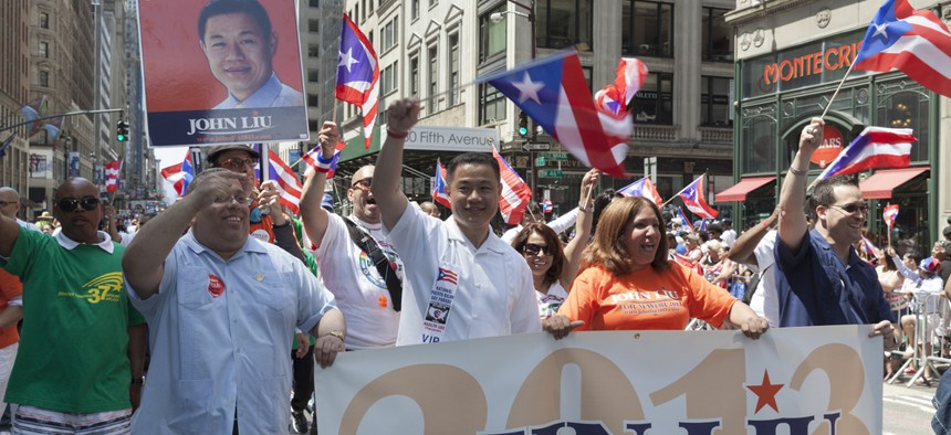 Then-Democratic mayoral candidate John Liu attends the National Puerto Rican Day Parade in Manhattan on June 9, 2013.