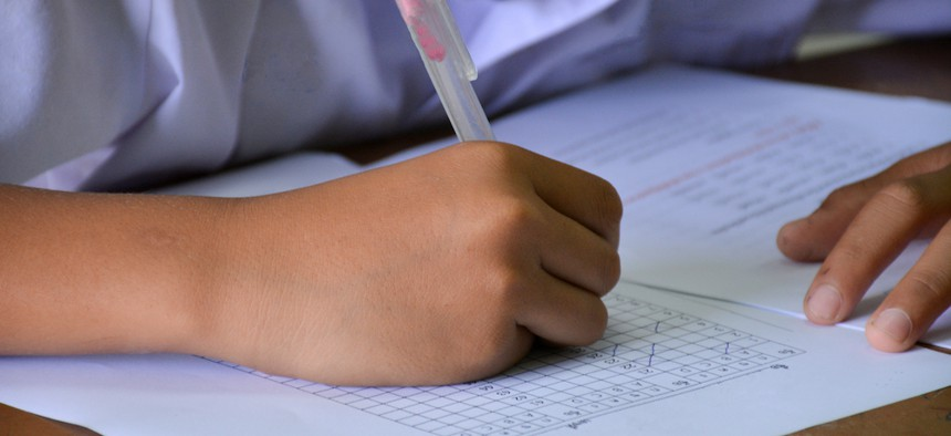 A student taking a standardized test