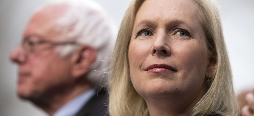 US. Sens. Kirsten Gillibrand and Bernie Sanders announce the Medicare for All Act of 2017 on Capitol Hill in September.