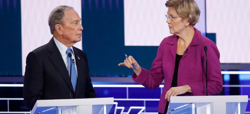 Michael Bloomberg and Sen. Elizabeth Warren at the Democratic debate in Nevada this Wednesday.