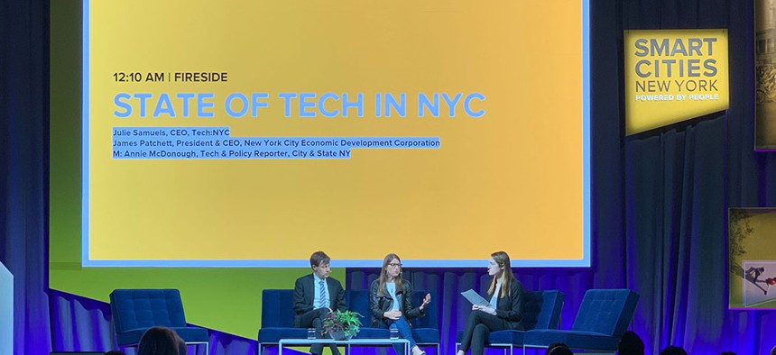James Barnett, Julie Samuels and moderator Annie McDonough of City & State at Smart Cities New York.
