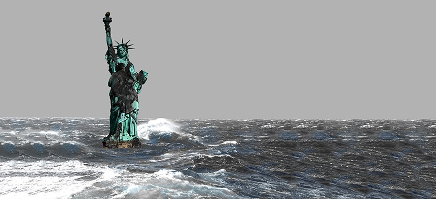 Statue of liberty drenched in oil