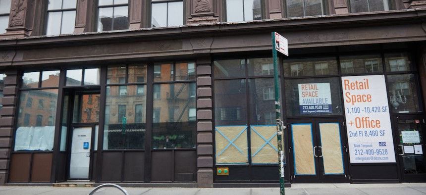 Shuttered storefronts in NYC during COVID-19.