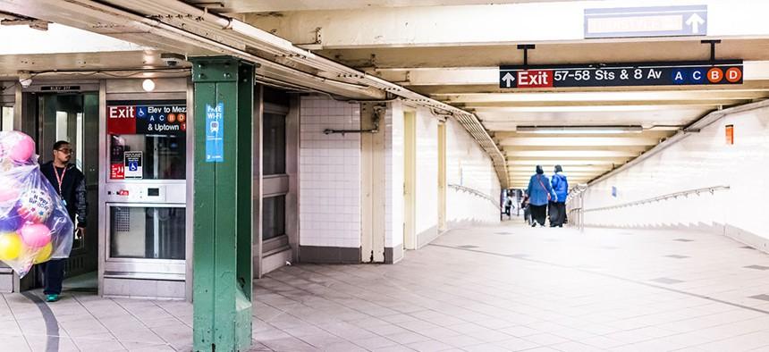A subway elevator.