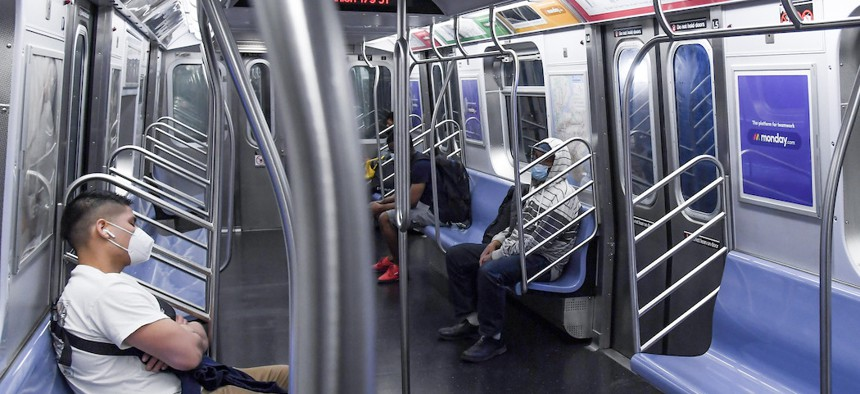 A subway car on June 8th during phase 1 of reopening.