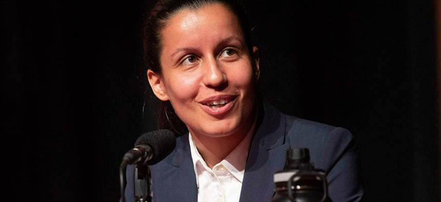 Tiffany Cabán speaks during a Queens District Attorney candidates forum at St. John's University.