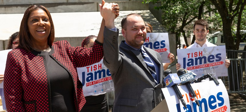 Attorney General Tish James and Assembly Speaker Corey Johnson during her campaign.
