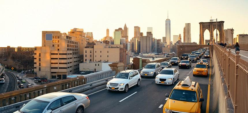 Rush hour traffic in on the Brooklyn Bridge