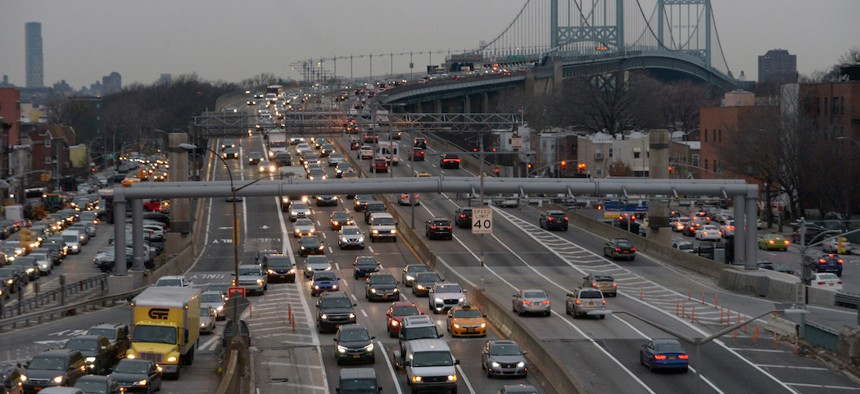 Evening rush hour traffic on the Grand Central Parkway.