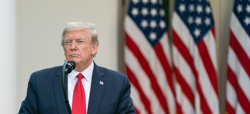 President Trump during the coronavirus update briefing on April 27th.