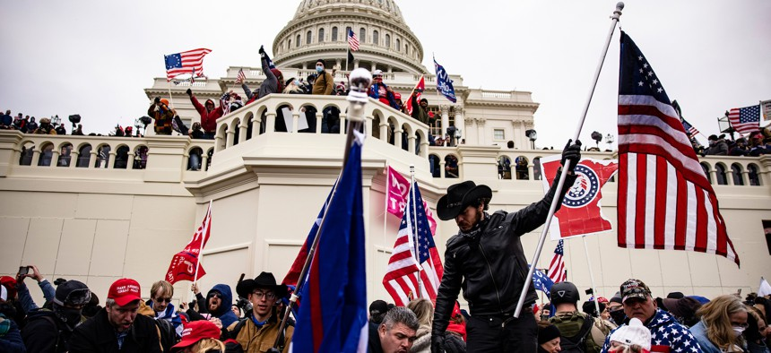 Pro-Trump rioters at the United States Capitol last week.