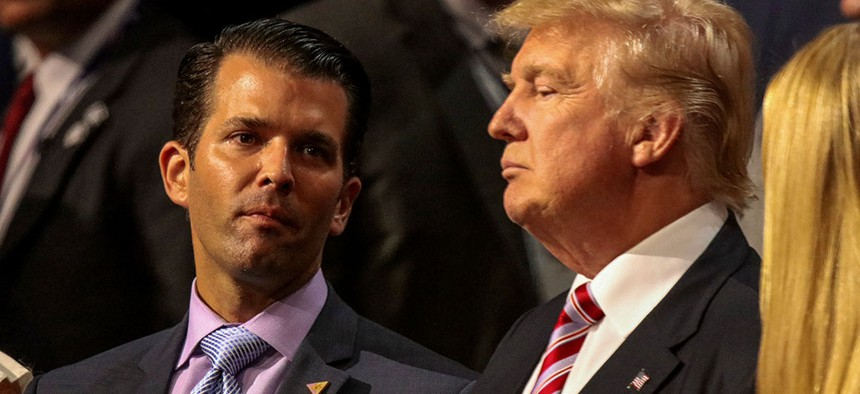 President Donald Trump and Donald Trump Jr. at the Republican National Convention in 2016.