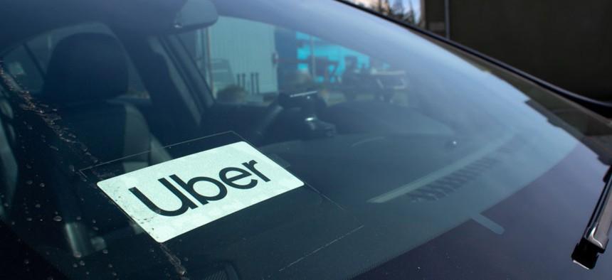 An Uber vehicle.