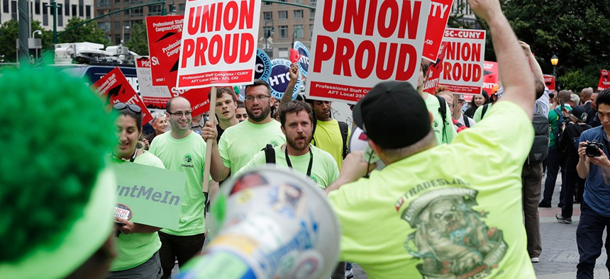 Organized labor members protest the U.S. Supreme Court's ruling in the Janus case in lower Manhattan.