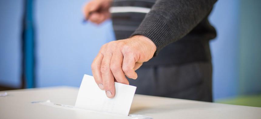 A ballot being cast.