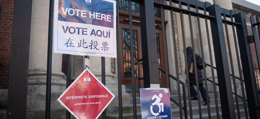A 'vote here' sign outside of the Park Slope library in Brooklyn for Tuesday's public advocate special election.
