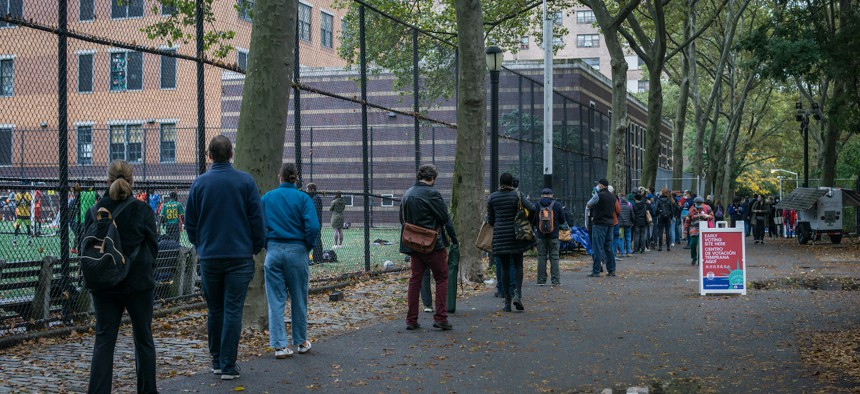 New Yorkers line up to vote at Upper West Side High School on October 28th.