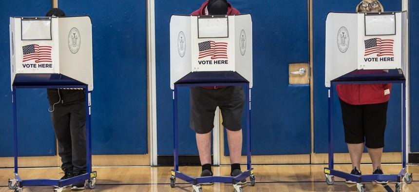 Voters at Rockaway YMCA in Averne, Queens on October 26th.