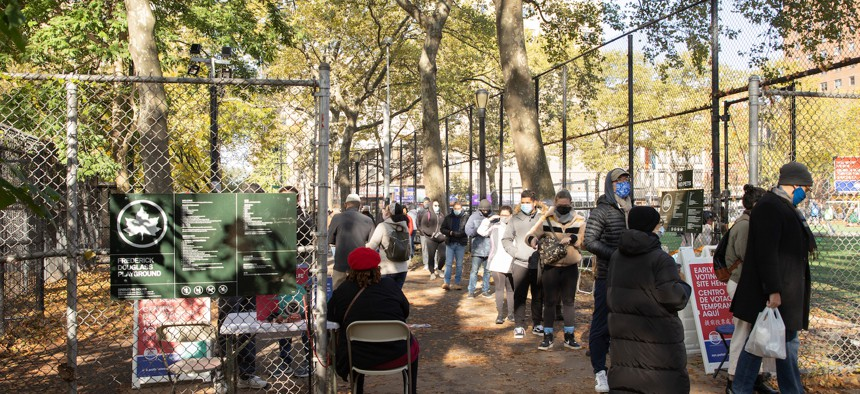 Voters lining up at West Side High School in Manhattan on October 21, 2020.