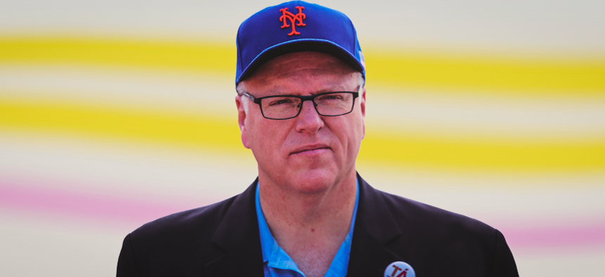 Rep. Joe Crowley in a Mets cap