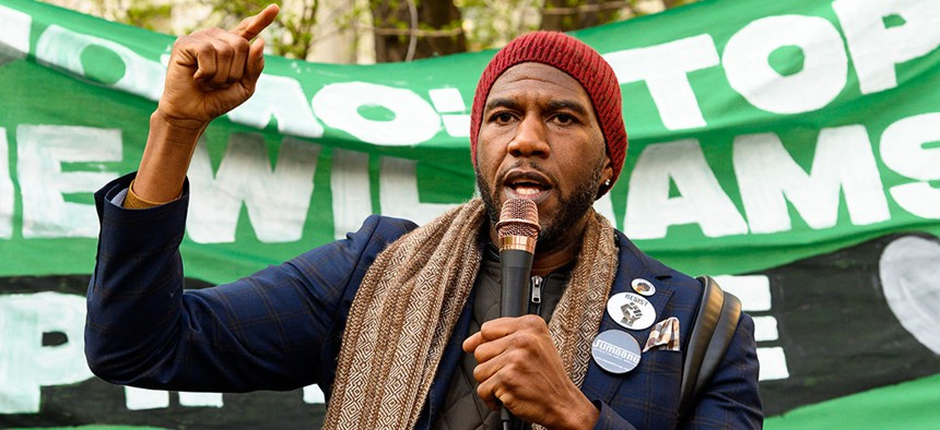 New York City Public Advocate Jumaane Williams spoke out at a protest to stop the construction of the Williams natural gas pipeline on April 18, 2019.