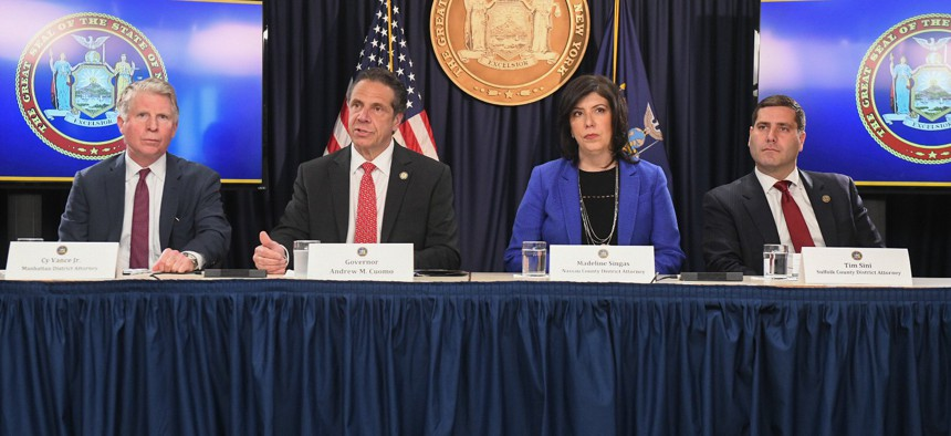 Gov. Andrew Cuomo and Nassau County District Attorney Madeline Singas