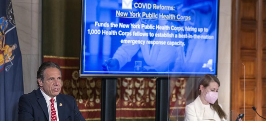 Gov. Andrew Cuomo holds a budget briefing with Melissa DeRosa
