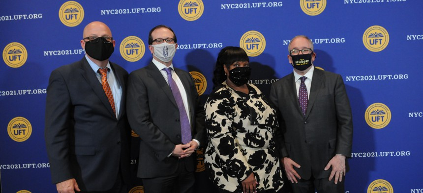 The United Federation of Teachers endorsed Scott Stringer, right, for mayor in April.
