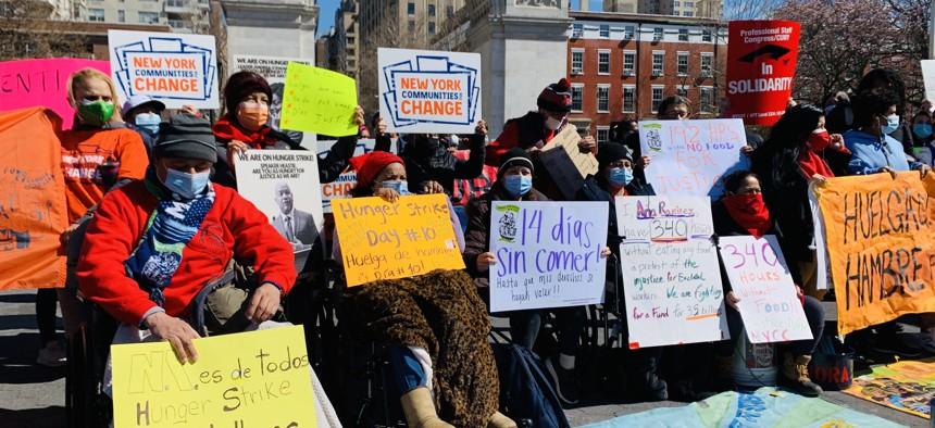 Demonstrators at Washington Square Park on Monday, March 29.