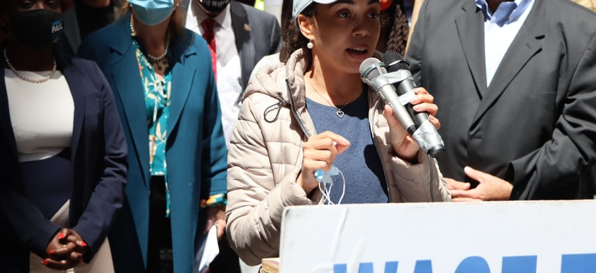 Assembly Labor Chair Latoya Joyner spoke at a May 6 rally in Manhattan highlighted a bill she is sponsoring to crack down on wage theft.