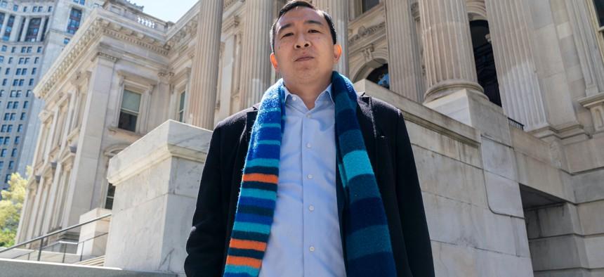 Andrew Yang at a press conference on May 11.