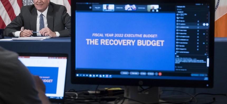 Mayor Bill de Blasio unveiling the 2022 budget.
