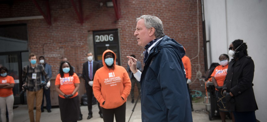 Bill de Blasio at the Campaign Against Hunger Food Pantry