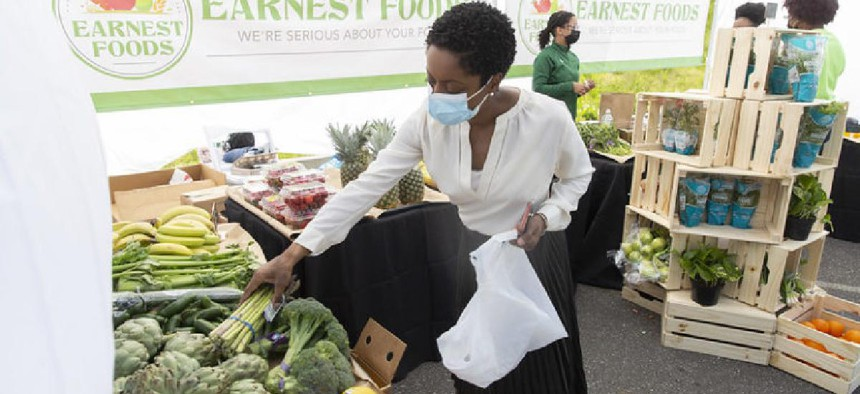 Councilmember Selvena Brooks-Powers at the opening of a farmers market in her Queens district.
