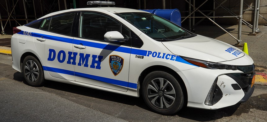 The New York City Department of Health and Mental Hygiene (DOHMH) Police car in Lower Manhattan