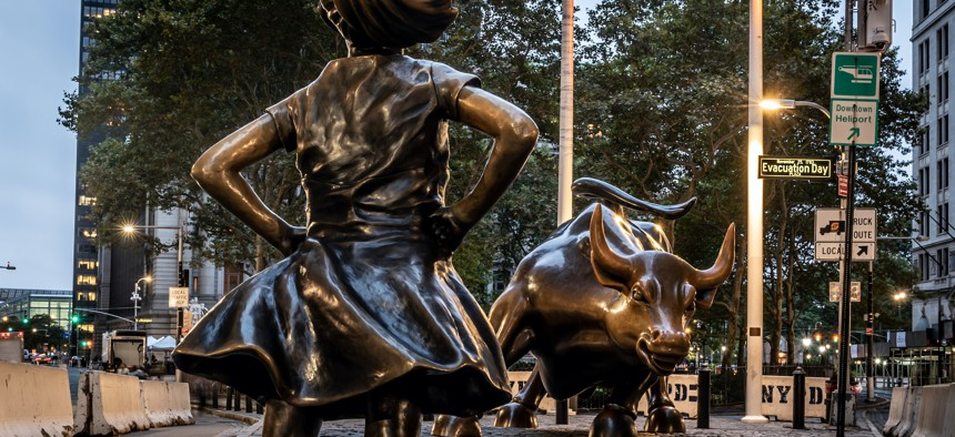 Fearless Girl statue on Wall Street.